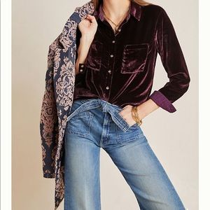 ANTHROPOLOGIE Maeve Karina Velvet Buttondown US 10